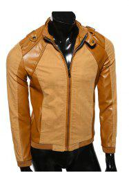 Pied de col PU-cuir Splicing Epaulet design Jacket -