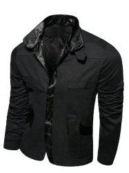 Splicing Metallic Turn-Down Collar Single-breasted Jacket - Noir L