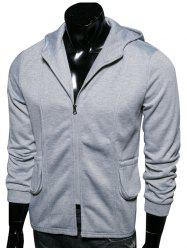 Hooded Pockets Embellished Zip-Up Hoodie
