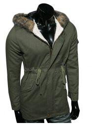 Hooded Faux Fur Collar Drawstring Cotton-Padded Parka Coat -