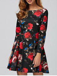 Long Sleeve Floral Mini Vintage Dress -