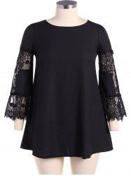 Chiffon Lace Splicing Plus Size Dress -