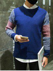 Color Block Splicing Crew Neck Long Sleeve Sweater -