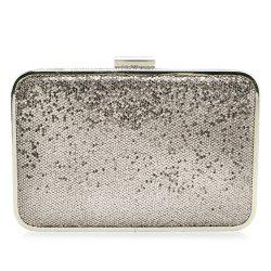 Glitter Metal Trimmed Sequins Evening Clutch - SILVER