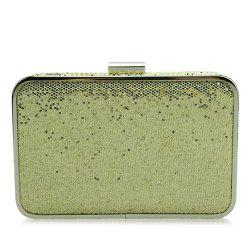 Glitter Metal Trimmed Sequins Evening Clutch - GOLDEN