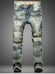 Retro Style Straight Leg Distressed Jeans