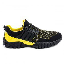 Lace-Up Splicing Colour BlockAthletic Shoes - YELLOW AND BLACK