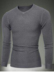 Slim Fit V-Neck Sweater in Textured Knit - DEEP GRAY