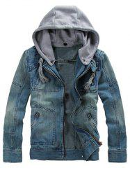 Zippered Removable Hood Denim Jacket - DENIM BLUE
