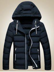 Contrast Zipper Hooded Quilted Jacket - CADETBLUE XL