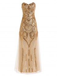Strapless Sequin Glitter Long Formal Bridemaid Dress - GOLDEN