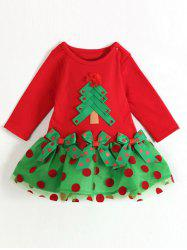 Kids Long Sleeve Polka Dot Christmas Dress - RED