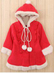 Kids Hooded Fleece Christmas Coat - RED