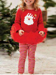 Kids Santa Striped Christmas Outfits - RED