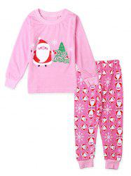 Santa Claus Print Girls Christmas Pajamas Set