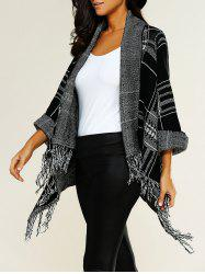 Shawl Collar Asymmetric Fringed Cardigan -