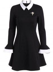 A Line Color Block Dress with Brooch - BLACK 2XL