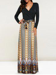 Print Maxi V Neck Long Sleeve Dress