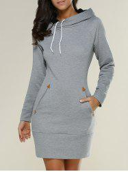 Tight Short Long Sleeve Long Hoodie Mini Dress - GRAY