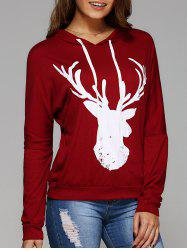 Long Sleeve Deer Print Christmas Hooded T-Shirt - RED M