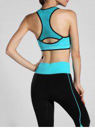 Cut Out Racerback Sporty Bra - LAKE BLUE