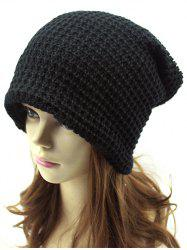 Casual Openwork Weaving Double-Deck Knit Beanie - BLACK