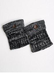 Warm Buttons Yoga Knit Boot Cuffs - BLACK