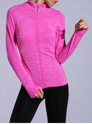 Zip Up Slimming Sporty Running Jacket -