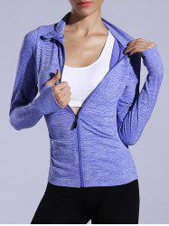 Zip Up Slimming Sporty Running Jacket - BLUISH VIOLET
