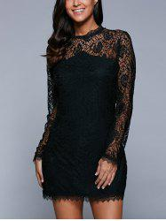 Long Sleeve See-Through Lace Bodycon Dress