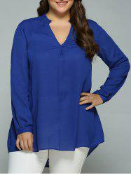 Plus Size High Low Hem Smock Blouse - SAPPHIRE BLUE