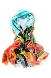 Innocence Watercolor House Painting Fringed Wool Scarf -