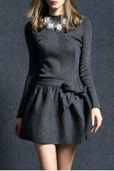 Bowknot Ribbed Sweater Dress - Gris XL