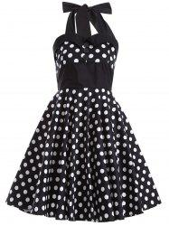 Polka Dot Halter Retro Fit and Flare Dress