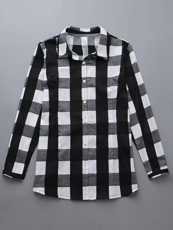Shop Plus Size Checkered Print Buttoned Shirt