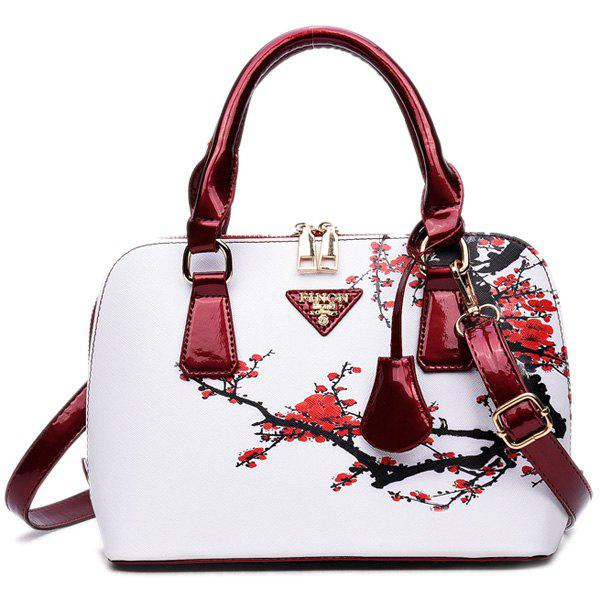 Floral Printed HandbagSHOES &amp; BAGS<br><br>Color: RED; Handbag Type: Totes; Style: Fashion; Gender: For Women; Pattern Type: Floral; Handbag Size: Small(20-30cm); Closure Type: Zipper; Interior: Interior Zipper Pocket; Occasion: Versatile; Main Material: PU; Weight: 0.6100kg; Size(CM)(L*W*H): 24*11*18; Package Contents: 1 x Tote;
