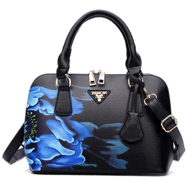 Floral Printed HandbagSHOES &amp; BAGS<br><br>Color: BLACK; Handbag Type: Totes; Style: Fashion; Gender: For Women; Pattern Type: Floral; Handbag Size: Small(20-30cm); Closure Type: Zipper; Interior: Interior Zipper Pocket; Occasion: Versatile; Main Material: PU; Weight: 0.6100kg; Size(CM)(L*W*H): 24*11*18; Package Contents: 1 x Tote;