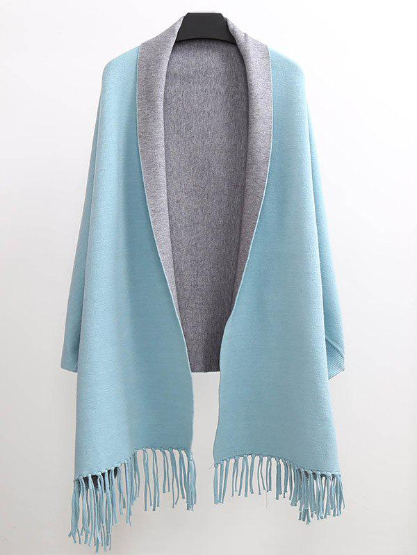 Winter Tassel Lapel Sleeved Cape PashminaACCESSORIES<br><br>Size: ONE SIZE(FIT SIZE XS TO M); Color: LIGHT BLUE; Scarf Type: Pashmina; Group: Adult; Gender: For Women; Style: Fashion; Material: Acrylic; Season: Fall,Spring,Winter; Weight: 0.450kg; Package Contents: 1 x Pashmina;