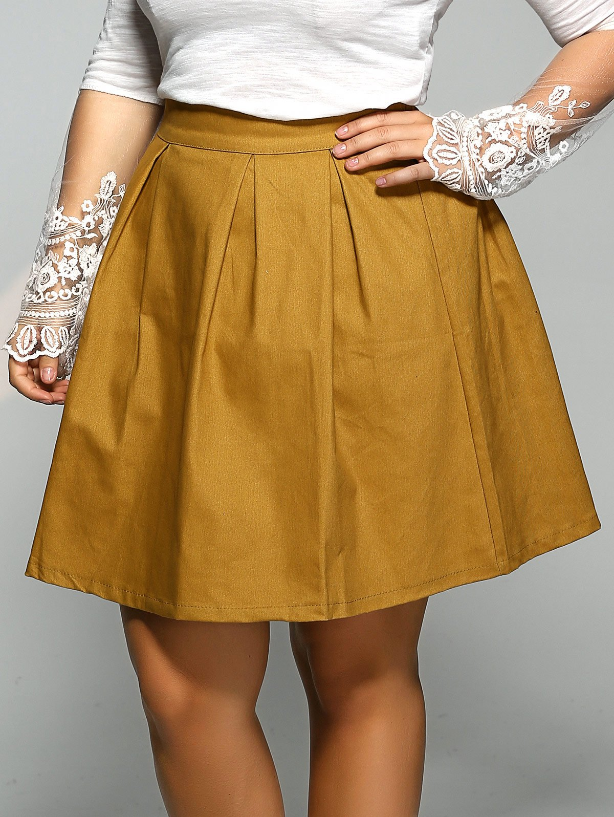 Affordable Plus Size Elastic Pleated Mini Skater Skirt