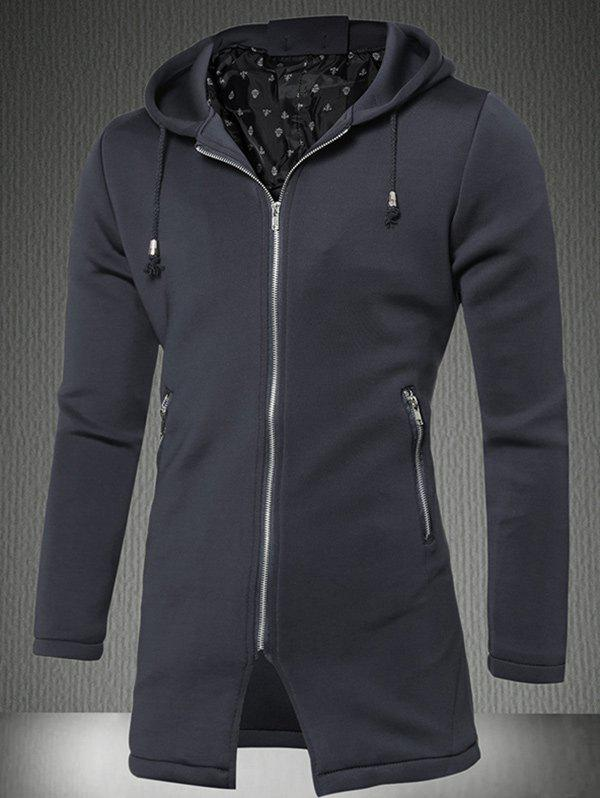 Online Zipper Up Pocket Hooded Coat