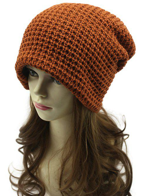 Discount Casual Openwork Weaving Double-Deck Knit Beanie