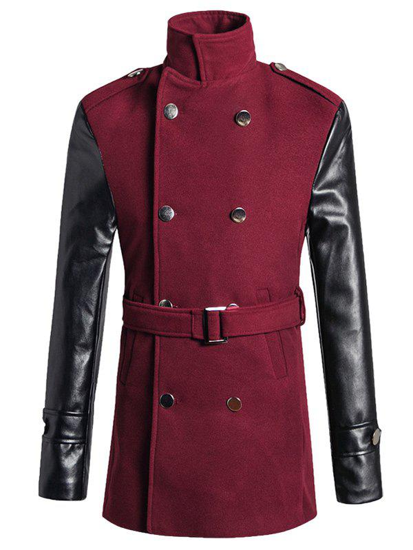 Online Stand Collar PU Spliced Wool Blend Trench Coat