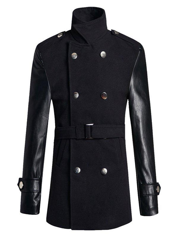Pied de col PU Laine épissage Blend Trench Coat Noir 2XL