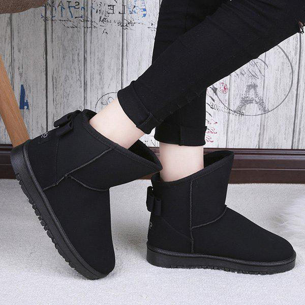 Fashion Bow Slip On Snow Boots