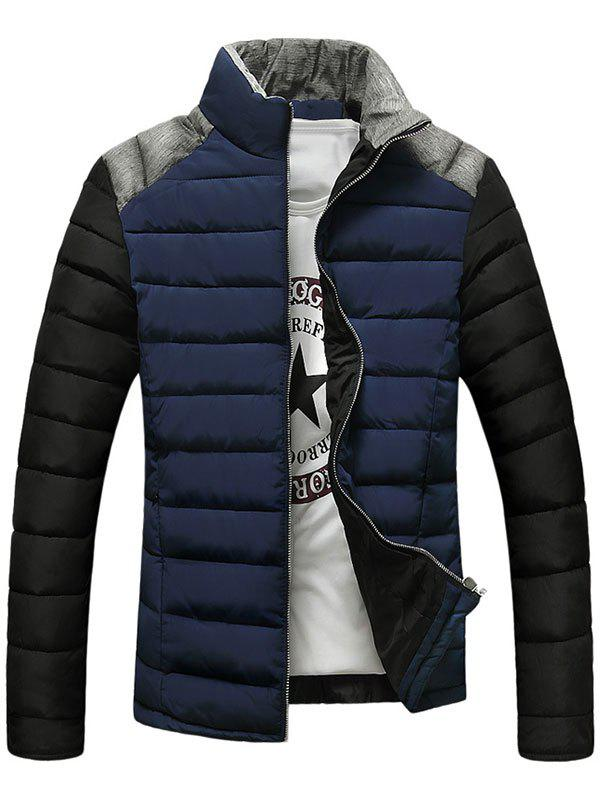 Chic Stand Collar Color Block Splicing Design Zip-Up Down Jacket