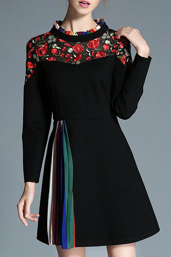 New Floral Embroidered Long Sleeve A Line Dress