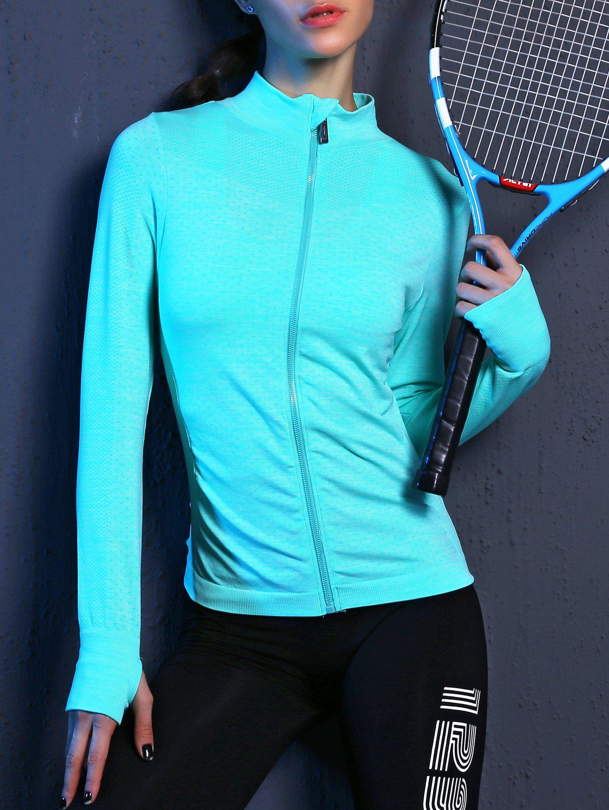 Outfits Zip Up Slimming Sporty Running Jacket