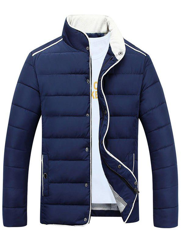 Fashion Stand Collar Edging Zip-Up Padded Jacket