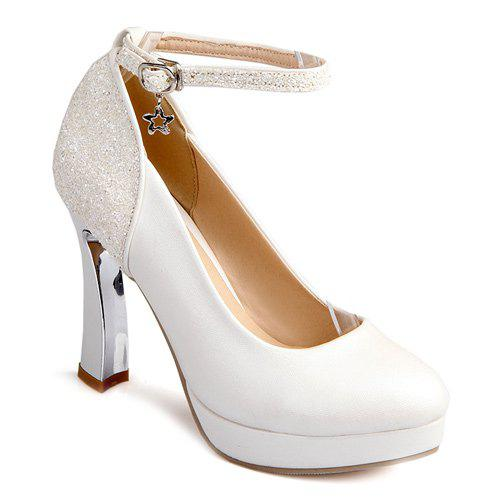 Ankle Strap Chunky Heel Sequin Pumps 40