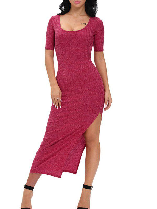 Ribbed Slit Bodycon Dress 196450203